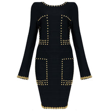 """GISELLE"" Gold Studded Black Dress"