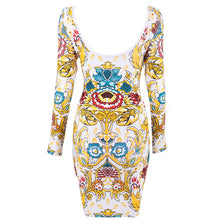 ''LOLA'' Gold Printed Long Sleeve Bodycon Dress