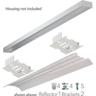 US Energy Sciences KSH-UB04-WA 4' Ft Universal 1-2 Lamp High Profile White Aluminum Reflector Retrofit Kit for T8 Strip Channel Fixtures