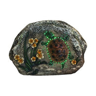 Northlight 7-in LED Lighted Solar Powered Turtle and Flowers Outdoor Garden Stone