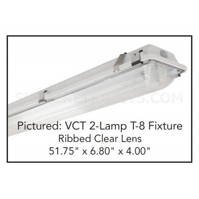 US Energy Sciences VCT-063208-WA-N-LCO 6 Lamp T8 8 Ft Vaportight Fluorescent Light Fixture Deep Optically Clear Lens