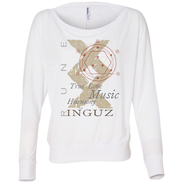 Inguz RUNE Women's Flowy Long Sleeve Off Shoulder Tee - SoREALa
