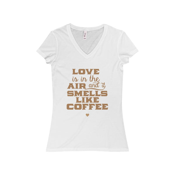 Love Is In The Air - Coffee Women's Jersey Short Sleeve V-Neck Tee - SoREALa