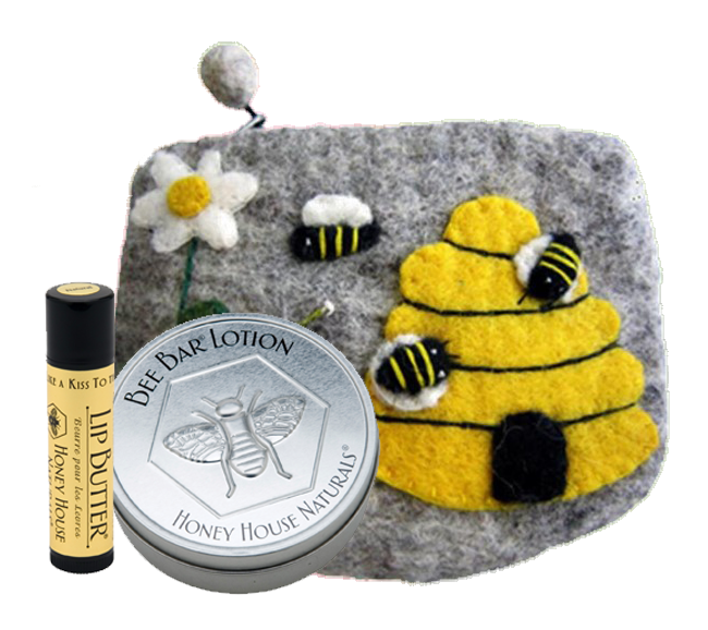 Wool Bee Bag with Large Bee Bar and Lip Butter Gift Set - SoREALa