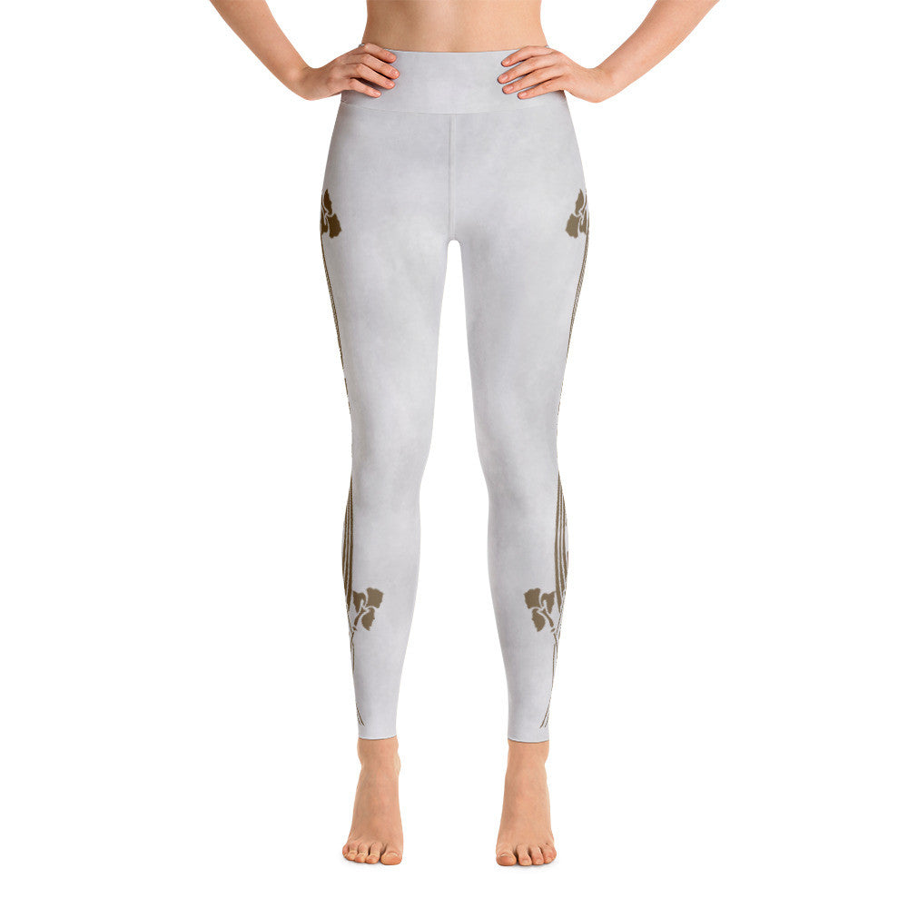 Art Nouveau Iris Beauty Soft Grey Yoga Leggings With Inner Pocket - SoREALa