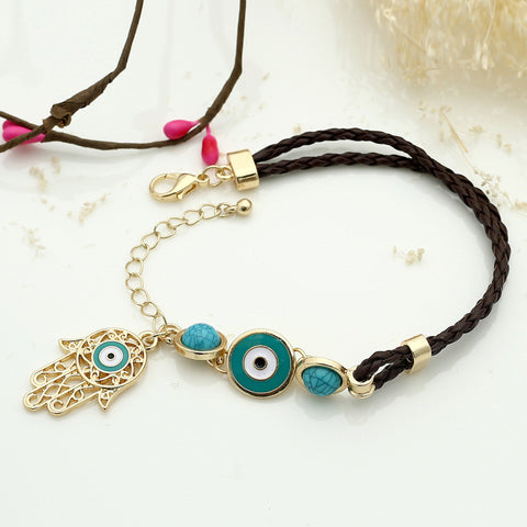 Very Immitation Leather Braided With Turquoise Bead Turkish Evil Eye  LS16