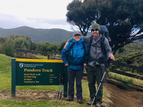 Cameron and Tim starting their hike to Pandora Beach, New Zealand