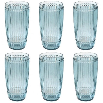 Le Cadeaux Milano 4 Piece Highball Set Teal Shatter Proof Glassware