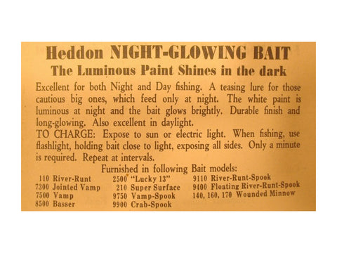 Heddon Night Glowing Bait Insert