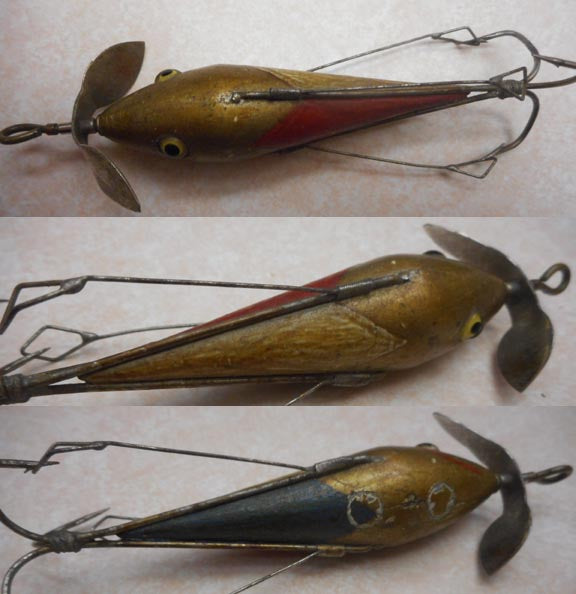 Multi-colored Bing's Minnow in red/yellow/green on gold body