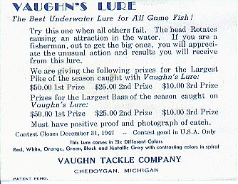 Vaughn's Lure Box Paperwork