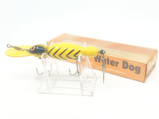 Vintage Wooden Bomber Water Dog 1620 Yellow Black Ribs
