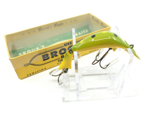 Brook's Baby Reefer Bait with Box and Paperwork Yellow Green Color