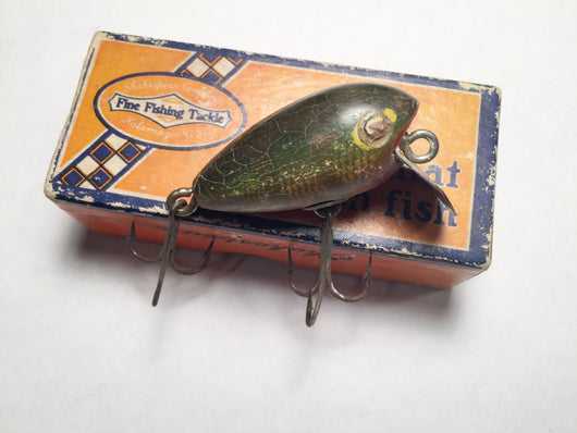 Shakespeare Dopey with Box.  Wooden lure Perch color.