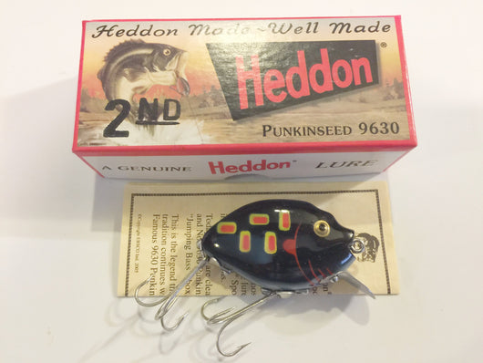 Heddon 9630 2nd Punkinseed PM Black Glow Frog Color New in Box