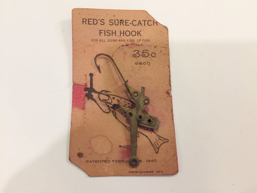 Red's Sure-Catch Fish Hook on Original Card