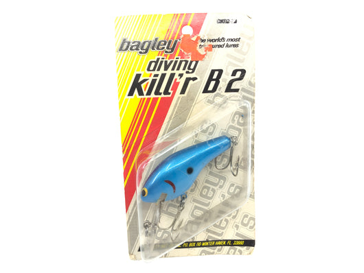 Bagley Diving Kill'r B2 DKB2-77 Blue on Blue Color New on Card Old Stock Florida Bait