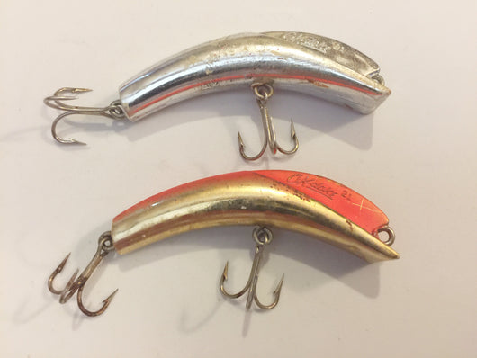 OK-Doke Lures Lot of 2 Size 21 Silver lure, Gold and Orange Lure