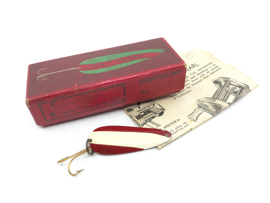 Vintage Eppinger Dardevles Imp Red White Lure in Two Piece Cardboard Box No 216