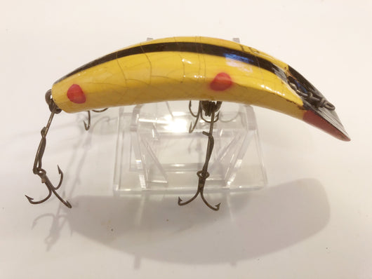 Helin Flatfish L9 Yellow Spot Black Back Rare Lake Trout Size Wooden Lure