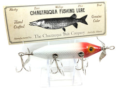 Chautauqua Special Order Wooden 5 Hook Minnow in Red Head White Scale Color