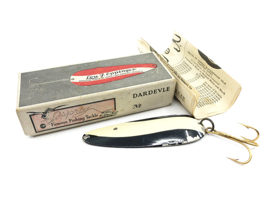 Vintage Eppinger Dardevle Lure in Two Piece Cardboard Box No 2 Black and White