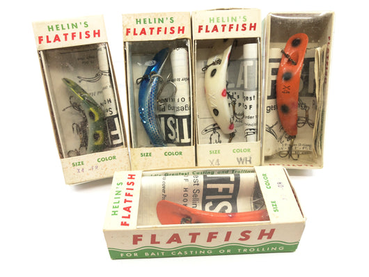 Vintage Helin Flatfish Lot of 5 New in Box Old Stock