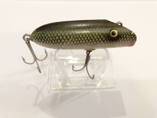 South Bend Babe Oreno Type Lure Green Scale Wooden Tack Eyes