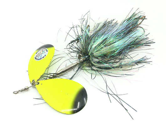 Musky Mayhem Tackle Junior Double Cowgirl Black Chartreuse Color