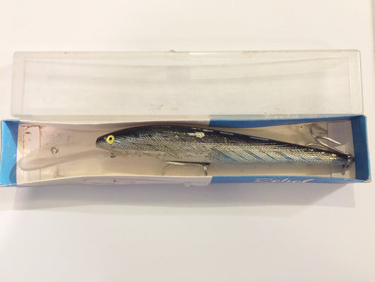 Rebel Musky Lure 2401 Silver 7 Huge Minnow Vintage with Flag Box