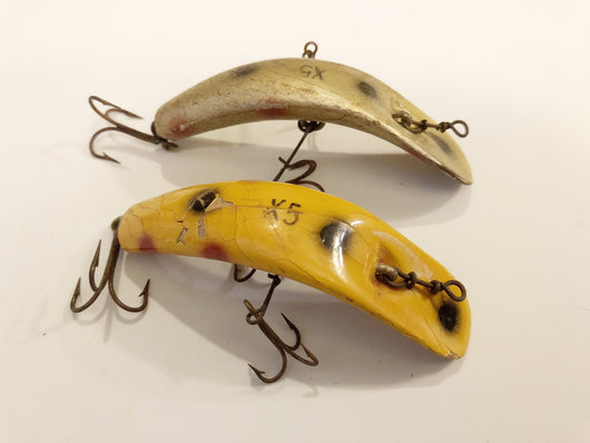 Helin Flatfish Lot of Two X5 Antique Wooden Lures