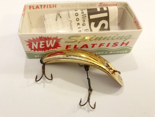 Helin Flatfish SPU GPL Wooden Lure Gold Plate Color