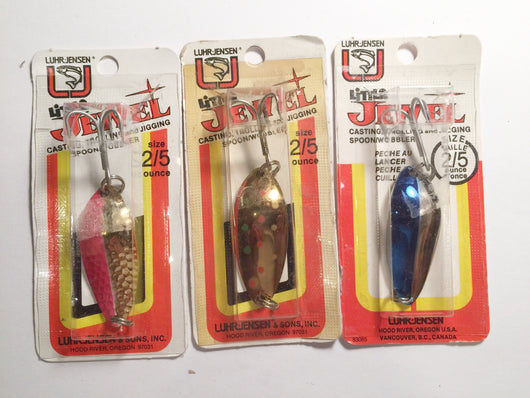 Luhr-Jensen Little Jewel Lures Lot of 3 New on Card 2/5 oz Lot 19