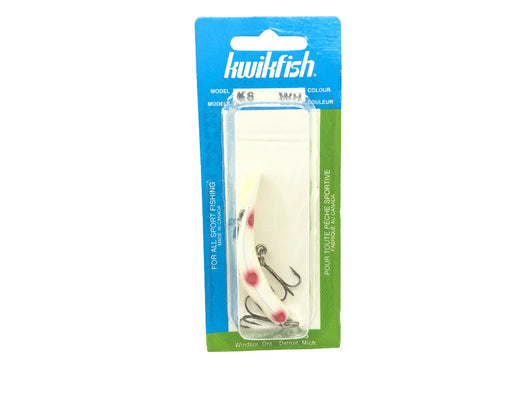 Kwikfish K8 WH White Red and Black Spots Color New on Card Old Stock.
