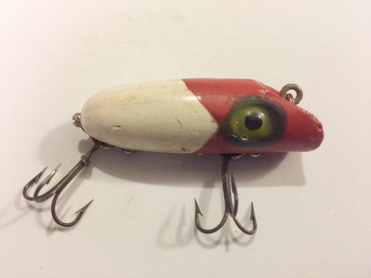 South Bend Spin-Oreno 967 Red White Wooden Antique Fishing Lure