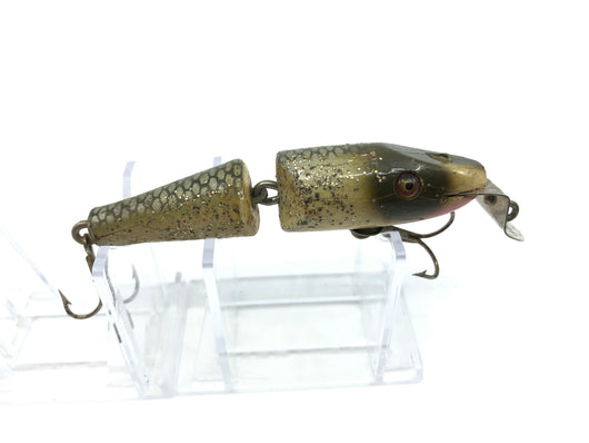 Creek Chub 2700 Baby Jointed Pikie Minnow in Silver Flash Color 2718 Wooden Lure Glass Eyes