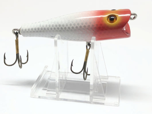Chautauqua Glass Eyed Popper Wooden Lure in Red and White Color