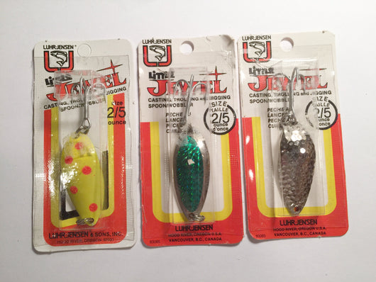 Luhr-Jensen Little Jewel Lures Lot of 3 New on Card 2/5 oz Lot 16