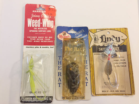 Lindy Skitter Bug, Harrison Weed-Wing, Mann's The Rat All Lures NOC One Price!