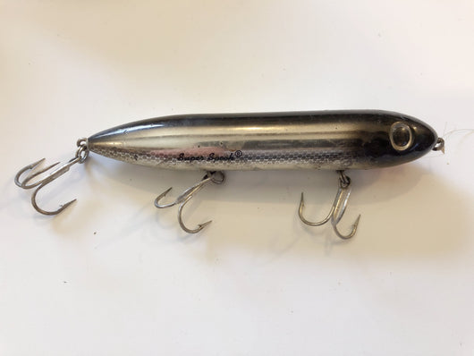 Heddon Super Spook Black and Silver Scale