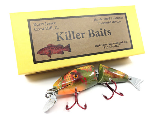 Rusty Jessee Killer Baits Creek Chub Wigglefish Orange Green Snake Skin Color