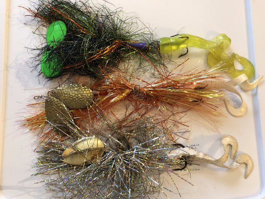 Tinsel Musky Spinner Lures Lot of Three
