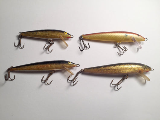 Lot of 4 Minnow Lures Rapala, Rebel, Other