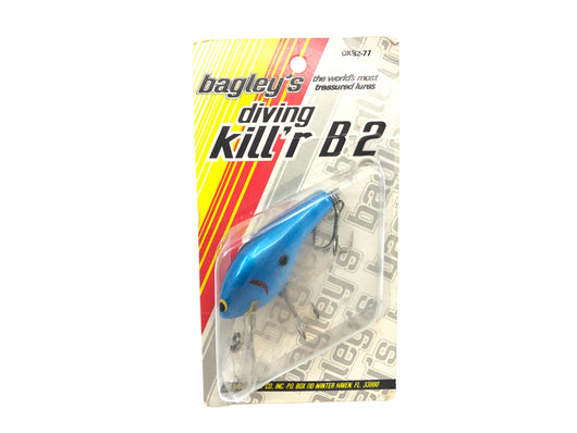 Bagley Diving B2 DB2-77 Blue on Blue Color New on Card Old Stock Florida Bait
