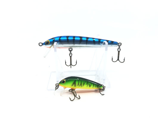 Bagley BANG-O-Lure in Green Yellow Orange Color and Unmarked Bagley Minnow Blue Silver and Black Stripes Color