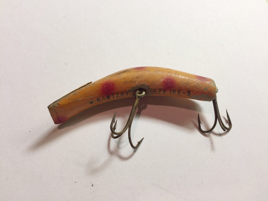 Lazy Ike 3 Kautzky Wooden Lure Orange with Red Spots