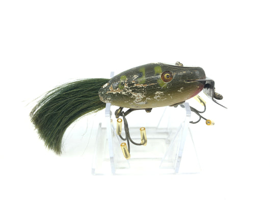 Creek Chub 5600 Dinger in Frog Color 5619 Wooden Lure Glass Eyes