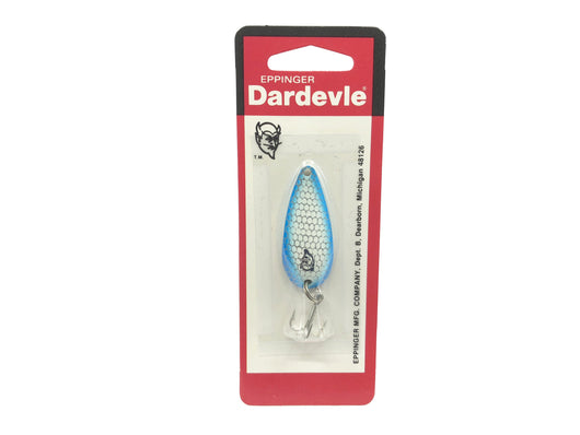 Eppinger Dardevle Spinnie 1/4 oz 974 Nickel Back Color 74 Scale White Blue Sides New on Card