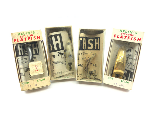 Vintage Helin Flatfish Lot of 4 New in Box Old Stock