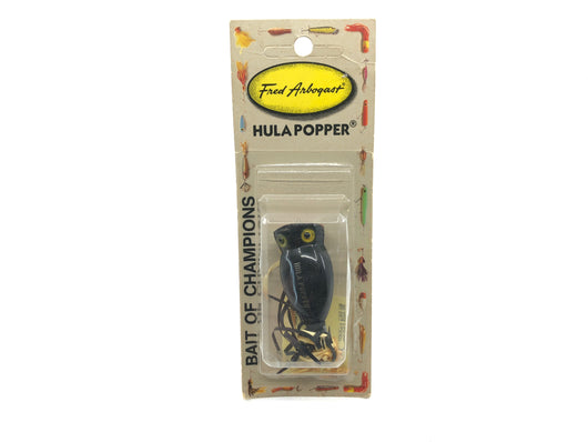 Arbogast Hula Popper New on Card Black Color